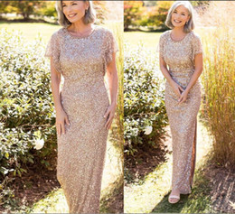 $enCountryForm.capitalKeyWord NZ - 2019 Gold Sequins Mother Dresses Short Sleeves Ankle Length Jewel Neck with Beads Side Split Sheath Mother of the Bride Dresses