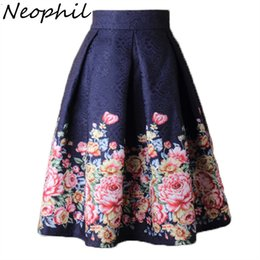 c71cc3b7b2 Neophil 2019 Ladies Jacquard Flower Print Pleated Ball Gown Skater Midi  Skirts Womens Vintage Floral High Waist Saias S1532 T190410