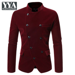 Discount velvet mandarin collar jacket Design Mens Stand Collar Slim Fit Coat Casual Velvet Double Breasted Suit Jacket Vintage Long Sleeve Tops Male Black Out