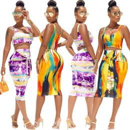$enCountryForm.capitalKeyWord NZ - Tie Dye Sexy Two Piece Bandage Dress Summer Clothes For Women Scoop Neck Sleeveless Party Dress High Waist Beach Bodycon Dress