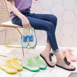 wholesale rubber shoe covers NZ - Fashion Lace-up Rain Shoes Anti-slip Jelly Candy-Colored Rubber Shoes Short Rain Boots Shoe Cover Waterproof Crystal Boots