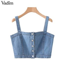 $enCountryForm.capitalKeyWord Australia - Vadim Women Sexy Denim Tank Straps Short Style Sleeveless Backless Solid Crop Female Casual Wear Tops Blouses Wa171 C19042301