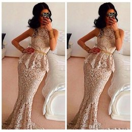 Gold Lace Peplum Dress Australia - Elegant Champagne Lace Mermaid Evening Dresses Peplum Waist Sleeveless Formal Evening Gowns 2019 With Gold Sashes Middle East Vestidos