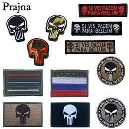 Wholesale military punisher patches resale online - Prajna Punisher Armband Tactical Army Badge Backpack Embroidery Individualized Patch Military Badge Hook Loop D