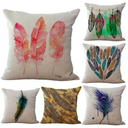 $enCountryForm.capitalKeyWord Australia - Vintage Watercolor Indian Feather Body Pillowcase Linen Bed Pillows Cover Couch Seat Cushion Throw Pillow Home Decoration Gift