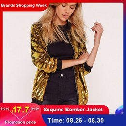 sequin sleeve jacket NZ - Fashion Women Sequins Coat Bomber Jacket Long Sleeve Zipper Streetwear Casual Loose Glitter Outerwear Female 2019 Autumn Coats Y190830