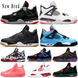 mens sports trainers Australia - 2019 New Arrival Bred Pale Citron Tattoo 4 IV 4s mens Basketball Shoes Pizzeria Singles Day Royalty Black cat mens trainers Sports Sneakers