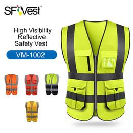 Alta Visibilidade Reflexivo Colete de Segurança Colete Refletivo Multi-bolsos Workwear Segurança Roupas de Trabalho Dia Noite Ciclismo Aviso T190622 venda por atacado