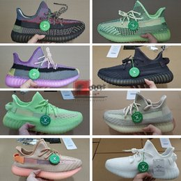 Black reflective faBric online shopping - YECHEIL Yeehu Kanye West Running Shoes Glow Green Black Reflective Antlia Citrin Cloud White Trainers Sneakers With Box Stock X