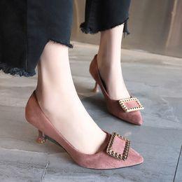 $enCountryForm.capitalKeyWord Australia - Current2019 Shoe Single Metal Square Buckle High-heeled Shoes Woman Fine With Sharp Size Code 33 34 41 43