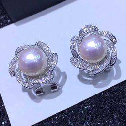 Discount silver evening earrings - Natural Pearl Earrings 925 Sterling Silver Jewelry Bohemian Evening Dinner Big Size Stud Earrings Cubic Zirconia Crystal