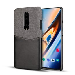 Red Light Card Australia - Luxury Leather Phone Case For One Plus 7 Pro oneplus 6 6T Soft Fabric Thin Light Card Slot Holder Hard Back splice Cover