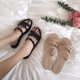 Wholesale 2019 Design Femme shoes brand pig nose chain summer slide holiday beach plastic jelly slipper shoes sexy flipflops brief fashion