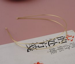 Wholesale Led Jewelry NZ - 10PCS 1.2mm Golden Double Wire Plain Metal Hair Headbands with round tips at nickle free,lead free Handmade hair jewelry