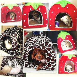 extra small dog house Australia - Kennels & Pens Foldable Soft Strawberry Leopard Dog Bed Cat House Pet Mat Animal Winter Warm Cushion Basket Products Accessories Supplies