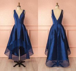 New Stylish Dress Pictures NZ - Navy Blue 2018 New High Low Cocktail Prom Dress Backless Cheap Jewel Neck Lace Short Front Long Back Stylish Homecoming Graduation Dresses