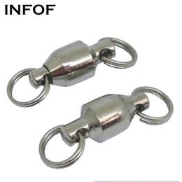 Ingrosso 500pcs / lot F4002 sfere girevoli ad alta resistenza con cuscinetti a sfera girevoli con doppio anelli Split Ganci da pesca in acciaio inox al 100% Connettori