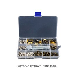 Discount press snap fasteners - Snap Fasteners Leather Snaps Button Kit Jeans Shoes Press Studs Leather Rivets Single Cap Rivets with Fixing Tools