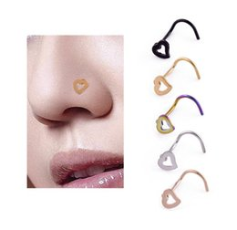 nostril nose ring piercing jewelry UK - 1pcs Fashion Heart Stainless Steel Nose Ring Nostril Hoop Nose Stud Ring Body Piercing Jewelry E5005 Pet Supplies