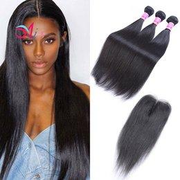 Discount highest quality unprocessed virgin hair - AiS Brazilian Virgin Human Hair Weaves Extension Straight Natual 1B Color 3 Bundles With Closure 4x4 Lace Closure Unproc