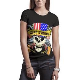 $enCountryForm.capitalKeyWord NZ - Woman Guns N'Rose Skull American Flag shirts Polyester white design personalised slim fit Tees