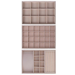 Necklace Display Cases Australia - Fleece Jewelry Box Plate Jewelry Display Earring Holder Ring Necklace Display Tray Stand Organizer Box Case Storage