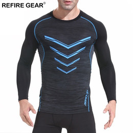 Neck Gear Australia - Refire Gear Outdoor Sports Long Sleeved T-shirt Mens Autumn Climbing Men Clothes Quick Dry Breathable Slim Fit O-neck Gym Tshirt