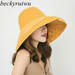 $enCountryForm.capitalKeyWord Australia - 2019 Spring And Summer Big Head Plus Size Sun Women Outdoors Beach Large Brim Fisherman Hats Lady Plain Bucket Hat C19041001