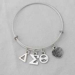 delta alloys Australia - Wholesale Fashion Alloy Delta Sigma Theta Charming Stainless Steel Bangles Greek Letter DST Expandable Wire Bangles