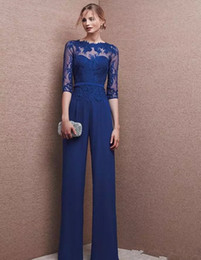 $enCountryForm.capitalKeyWord Australia - Royal Blue Plus Size Mother Of Bride Pant Suits 3 4 Lace Sleeve Mother Jumpsuit Chiffon Cocktail Party Evening Dresses Custom Made M002