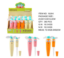 pen fan NZ - Kawaii Carrot Mini Fan Hand Shake Ballpoint Pen As Students Gift Portable Pocket Pen For School Creative Pen Office Supplies