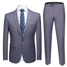Men White Linen Casual Suits Australia - High Quality 2019 Men's Fashion Slim Suits 6xl Men's Business Casual Groomsman 2pcs Wedding Suit Jacket Pants Trousers Sets Q190427