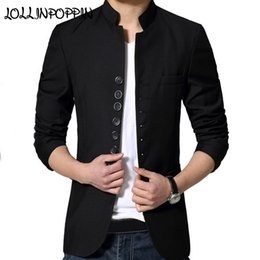 91aca93ab Chinese Style Mandarin Collar Suit Jacket Single Breasted Tunic Suit Jacket  Mens Black Stand Collar #544358