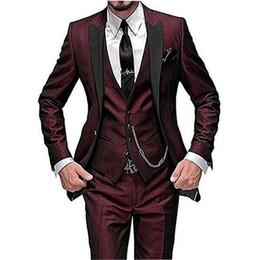 $enCountryForm.capitalKeyWord UK - High Quality One Button Wine Wedding Groom Tuxedos Peak Lapel Groomsmen Men Formal Prom Suits (Jacket+Pants+Vest+Tie) W196