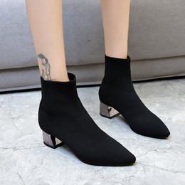 $enCountryForm.capitalKeyWord Australia - Socks boots stretch fabric silver chunky slim botas pointed toe elastic short ankle botines winter women shoes booties