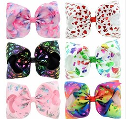 kids christmas hair bows Canada - 8 Inch Colorful Star Heart Bowknot Gradient Hair Bows With Clips For Kids Girls Hairpins Hair Accessories Girls Headdress 827