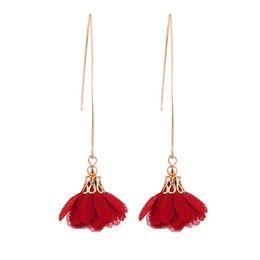 $enCountryForm.capitalKeyWord Australia - Women Long Dangle Flower Earrings Wedding Party Banquet Vintage Piercing Jewelry Gift