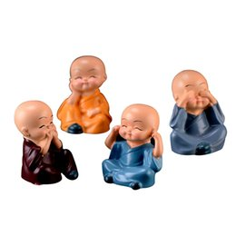 car interior doll Australia - 4Pcs Set Little Cute KongFu Monk Car Interior Decoration Ornament For Car Home Decor Gift Dolls Car Styling Accessories