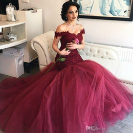 wine red burgundy prom dress Canada - 2019 Burgundy Mermaid Prom Dresses Elegant Wine Red Sweetheart Off Shoulder Lace Tulle Long Backless Evening Gowns Sweep Train