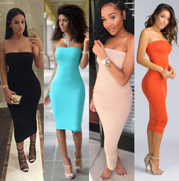 Wholesale womens strapless casual dresses for sale – plus size Top Fashion Womens Summer Dresses Strapless Female Clothes Sleeveless Beach Dress Bandeau Bodycon Tube Solid Dress Womens