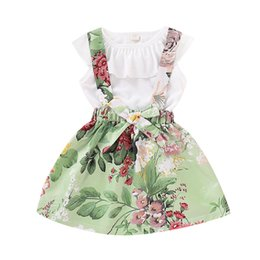 $enCountryForm.capitalKeyWord UK - Baby girls suspender Skirt outfits romper tops Summer Kids Floral Ruffled T Shirt + Dress 2pcs set kids Clothing Sets