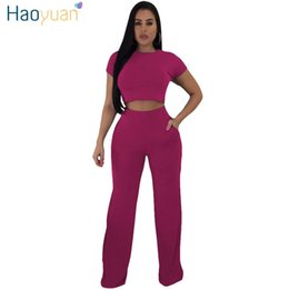 two piece club clothing Australia - Haoyuan Two Pieces Set Sexy Club Outfits Short Crop Tops And Trousers Suits 2 Piece Women's Summer Casual Clothes Matching Sets Y19071301