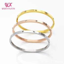 enamel gold plated bangles NZ - Highest level 4MM silver rose 18k gold plated 316L stainless steel carter love screw bangle bracelet with screwdriver Clear Word with BOX