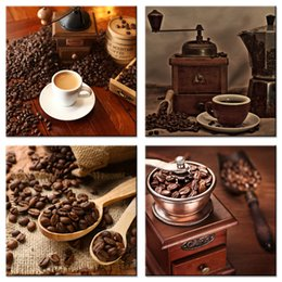 $enCountryForm.capitalKeyWord Australia - Coffee Bean and Coffee Canvas Painting Picture Print Wall Art for Coffee Shop Hotel Living Room Decoration Stretched Framed 4 Pieces Artwork
