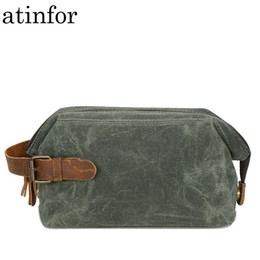 $enCountryForm.capitalKeyWord Australia - Waterproof Oil Wax Canvas And Genuine Leather Travel Makeup Bags Vintage Makeup Bag Cosmetic Traveling Bag Clutch Pouch J190715