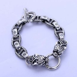 $enCountryForm.capitalKeyWord NZ - Handmade Chunky Thai Black 925 Sterling Silver Chain Fashion Double Leopard Head Style Charm Men Bracelet
