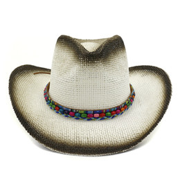 wide brim cream hat Australia - Summer Unisex Wide Brim Sun Paper Straw Jazz Hats with Colored Beads Decor Beach Cowboy Cowgirl Hat Travel Sunhat for Men Women