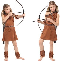 6c90078180 Halloween Costumes American Indian Princess Cosplay Native Hunter Huntress  Costume Girl Fancy Dress for Kids