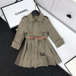 $enCountryForm.capitalKeyWord Canada - newAutumn girls windbreaker kids designer clothing fashion new houndstooth windbreaker waist lapels design coat