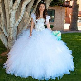 $enCountryForm.capitalKeyWord Australia - 2018 Princess Quinceanera Dresses Ball Gown Sweetheart Crystal Beads Tiered Ruffles Organza Sweet 16 Gowns For Prom Party